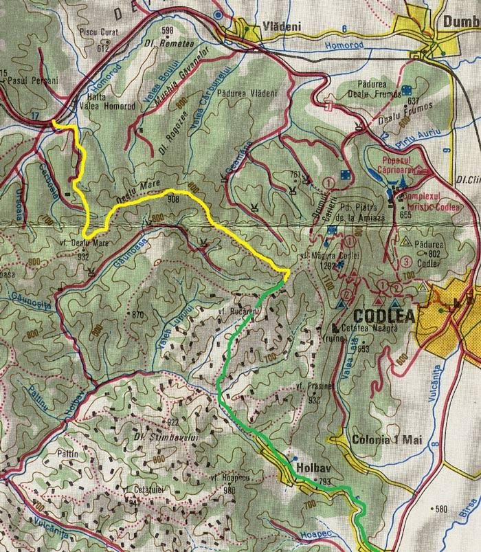 harta traseului perșani - holbav